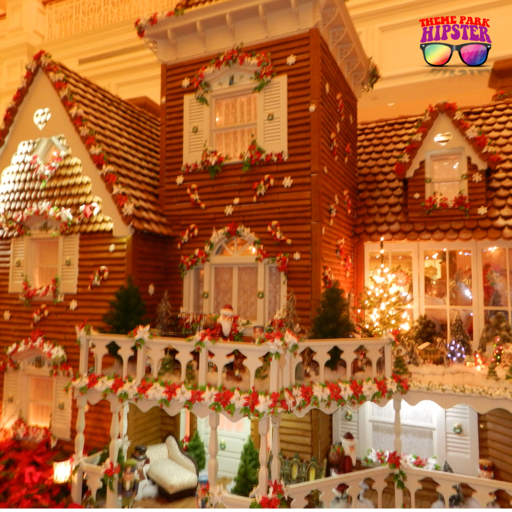 Christmas at Disney's Grand Floridian Resort and Spa with life size gingerbread house