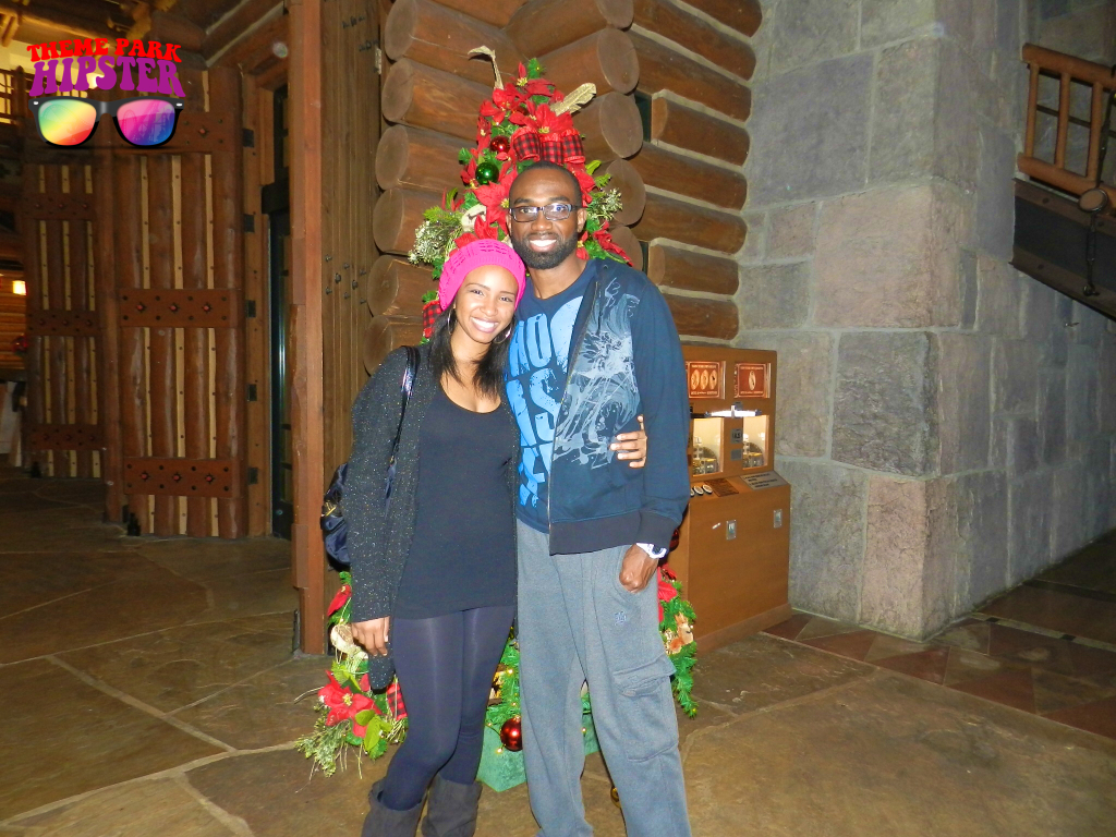 Merry Christmas from NikkyJ of ThemeParkHipster in front of Christmas Tree at Fort Wilderness Resort