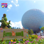Epcot Flower & Garden Festival with topiary Pluto and Daisy Duck in front of Spaceship Earth