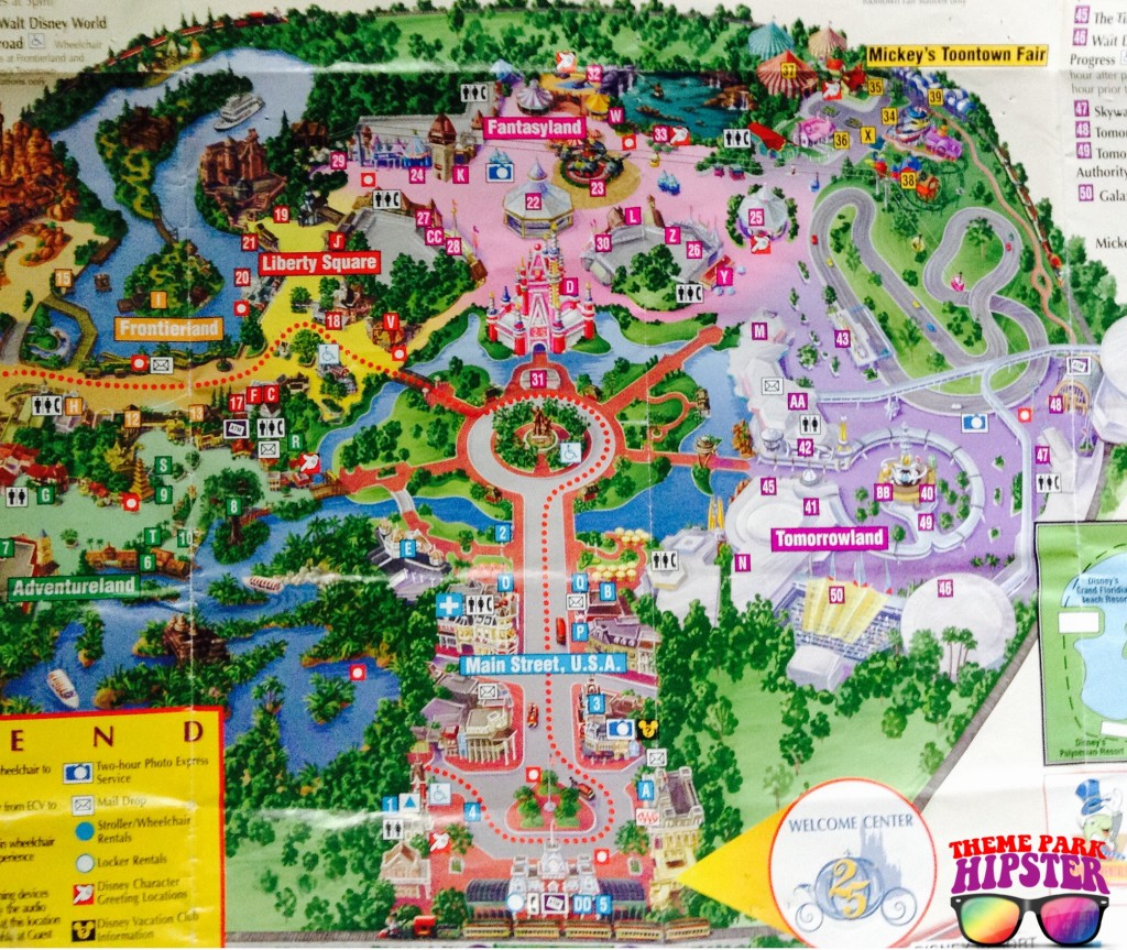 1997 Magic Kingdom Park Disney Map