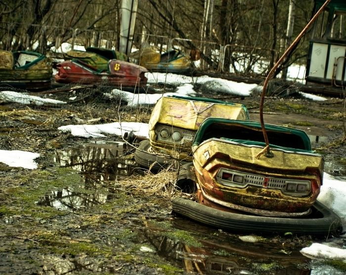 Abandoned amusement park bumper car