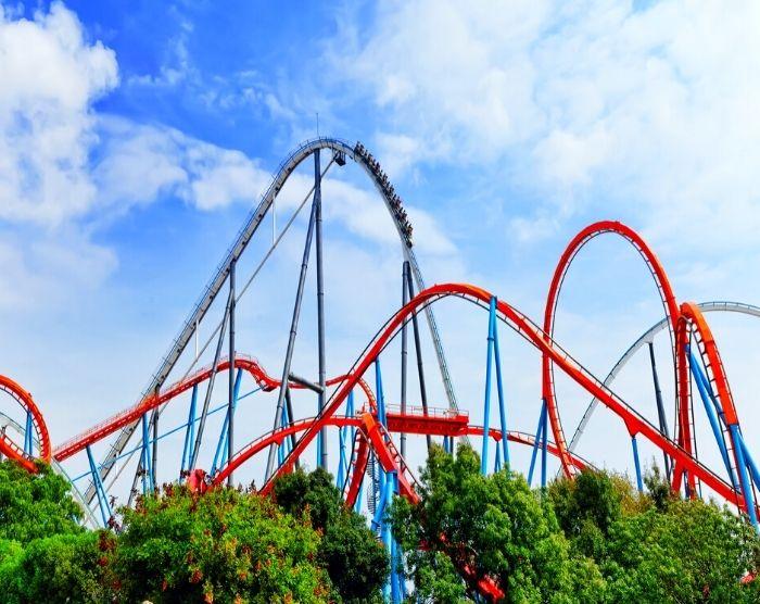 Amusement park roller coaster ride