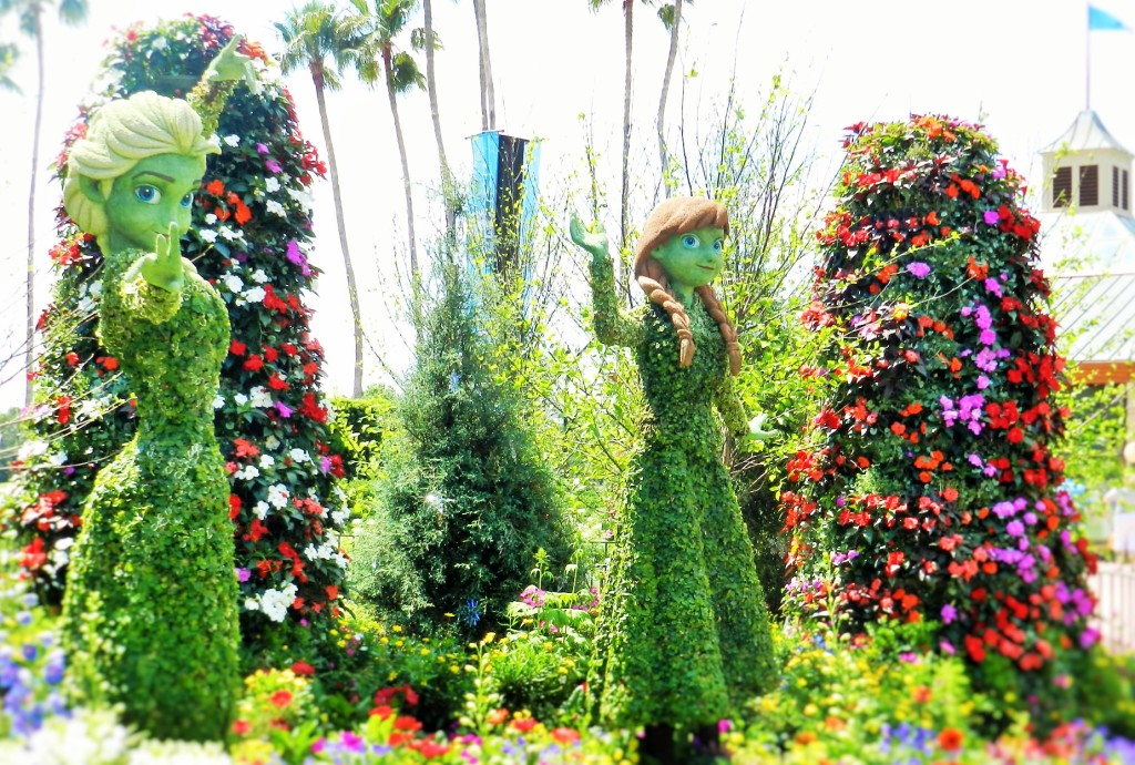 Frozen Ever After Ana and Elsa Topiary at Epcot Flower and Garden Festival