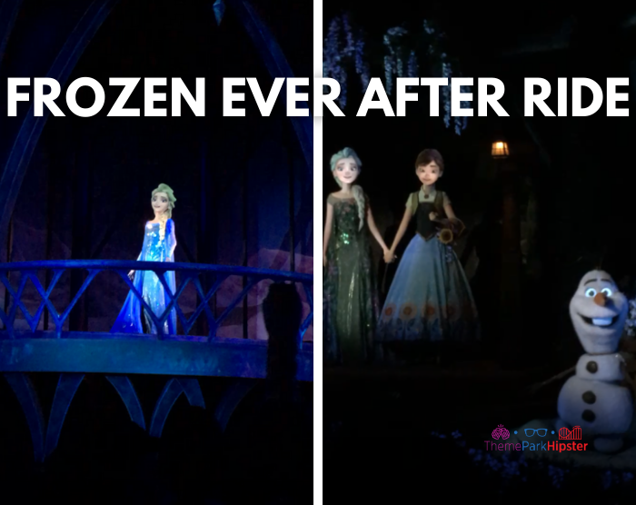 Frozen Ride at Epcot with Ana and Elsa in their summer outfits next to Olaf