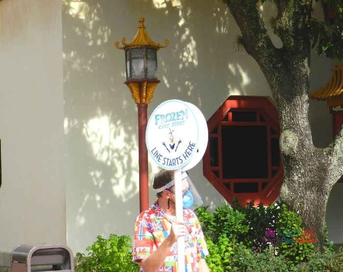 Long line sign holder for Frozen Ever After Ride at Epcot