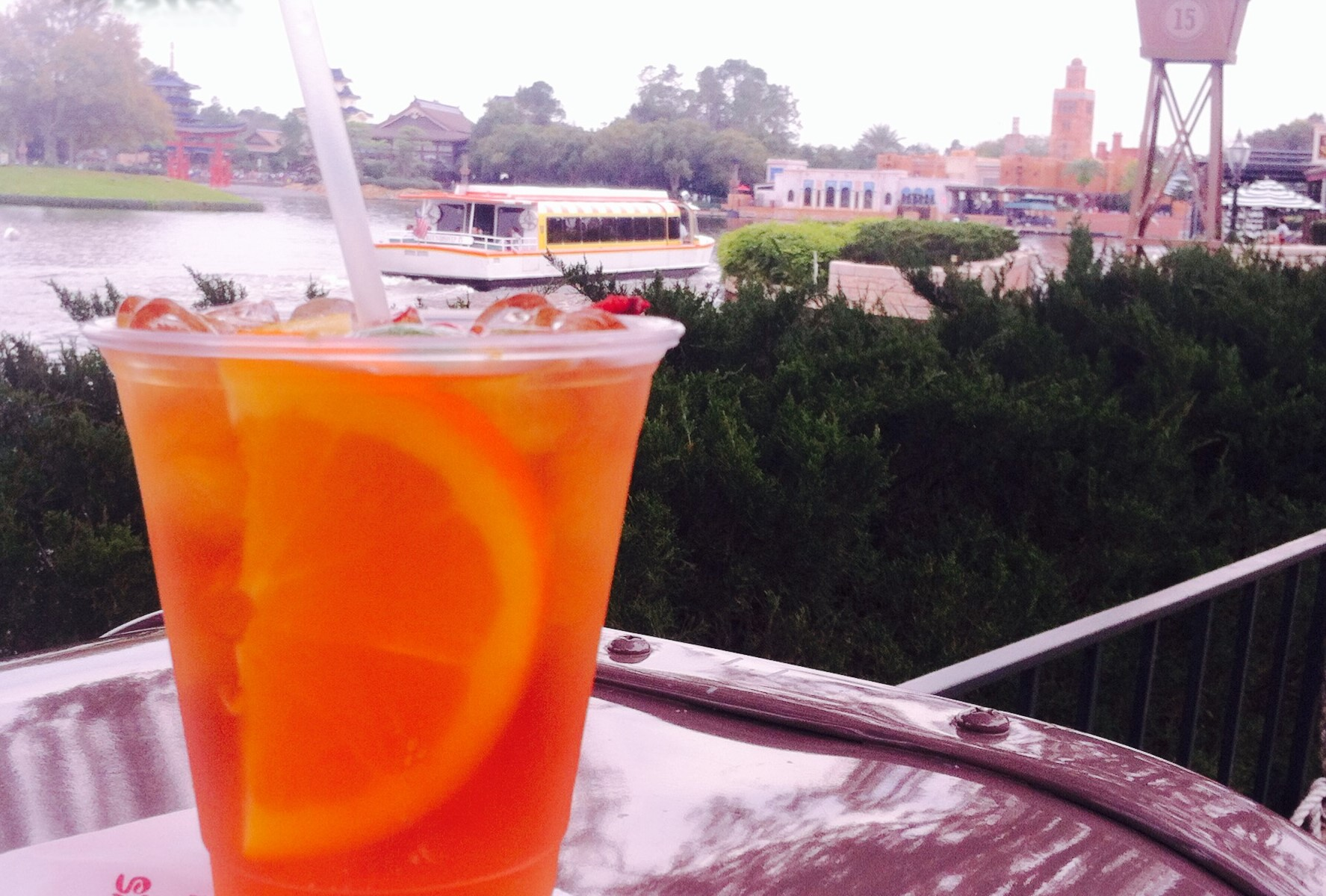 Pimm's Cup at Epcot with U.K. Pavilion in the background