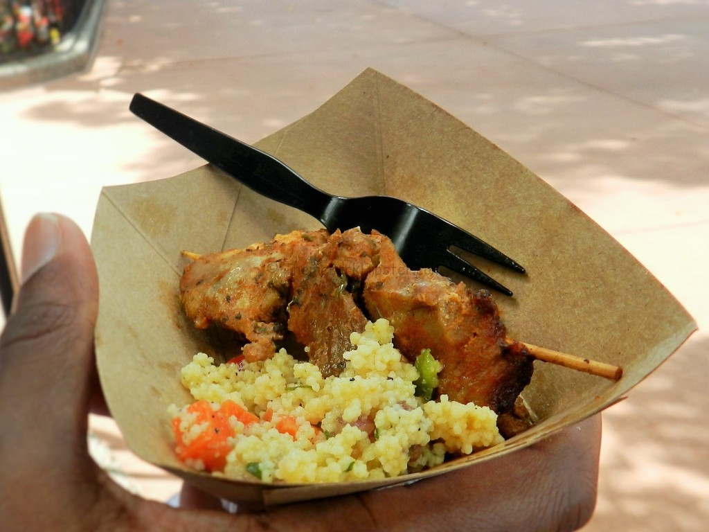 Morocco Epcot Flower and Garden Festival Harissa Chicken Kebab with Sweet Couscous Salad