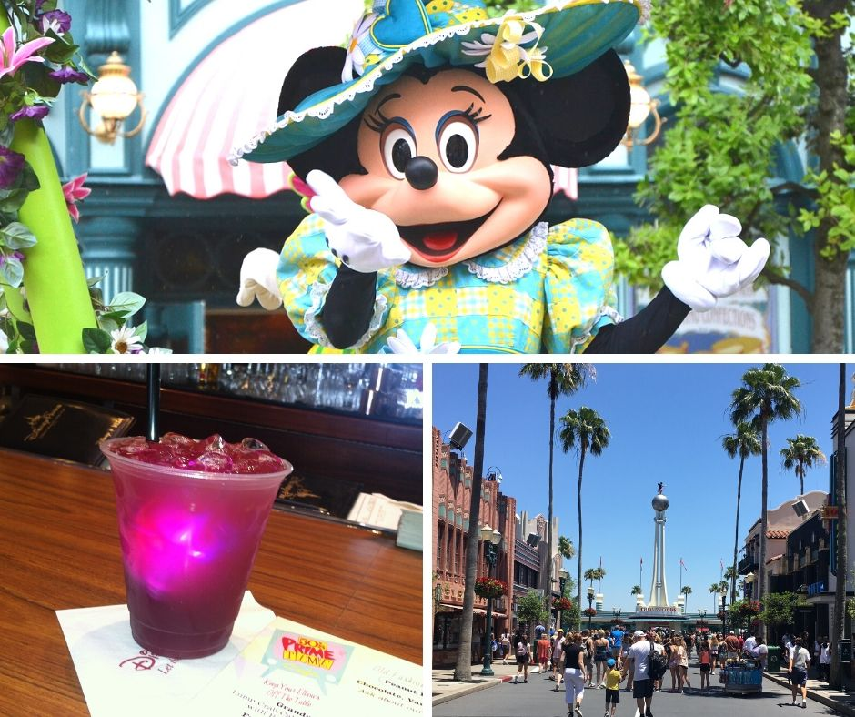 Tune In Lounge Disney World Drinks with Minnie Mouse Waving. Pink Grandma Picnic Punch.