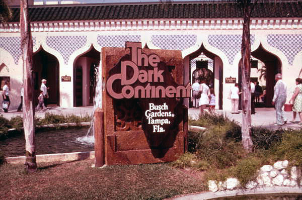 Busch Gardens Dark Continent Classic Logo in front of Park Gate