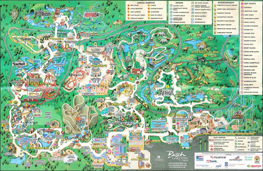 Busch Gardens Map: Florida Life and Leisure