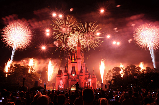 Fourth of July at Walt Disney World Photo. Fireworks above Cinderella Castle.