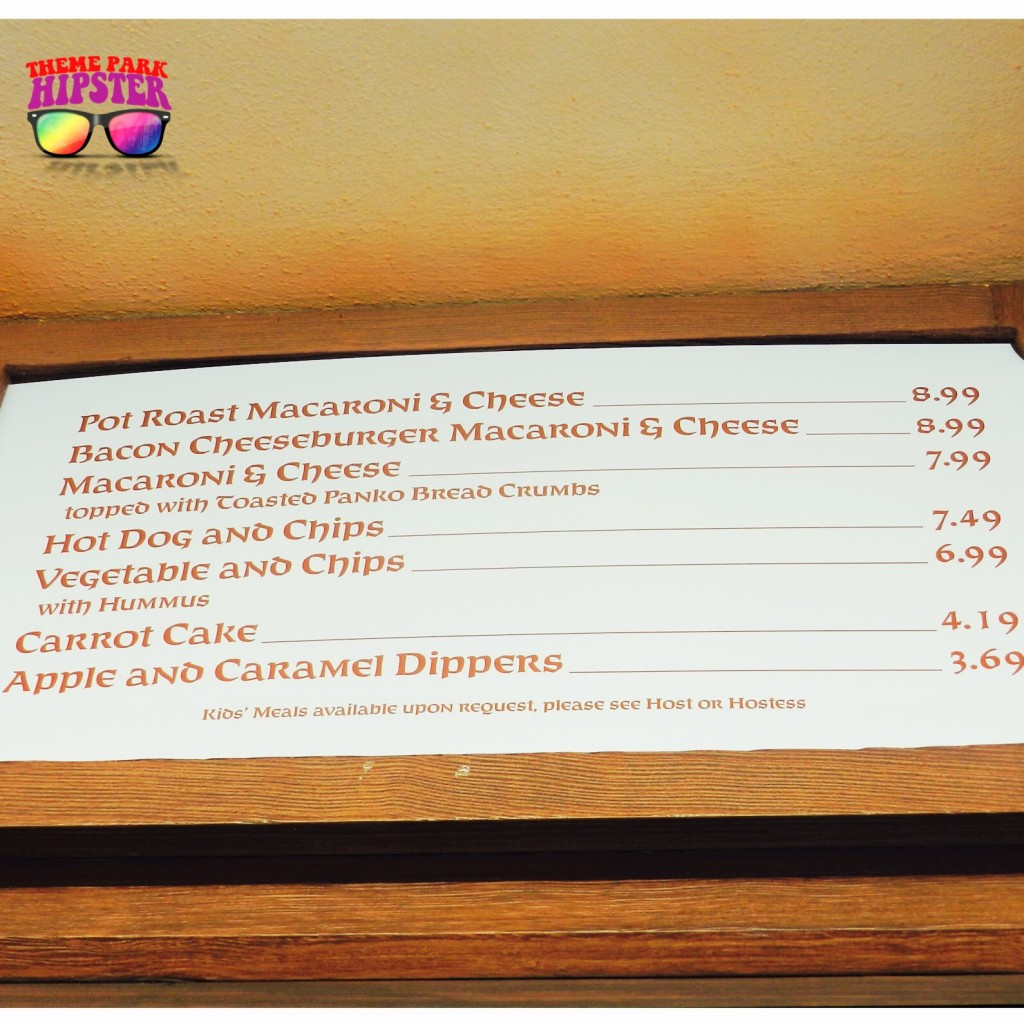 Friar's Nook Menu at the Magic Kingdom