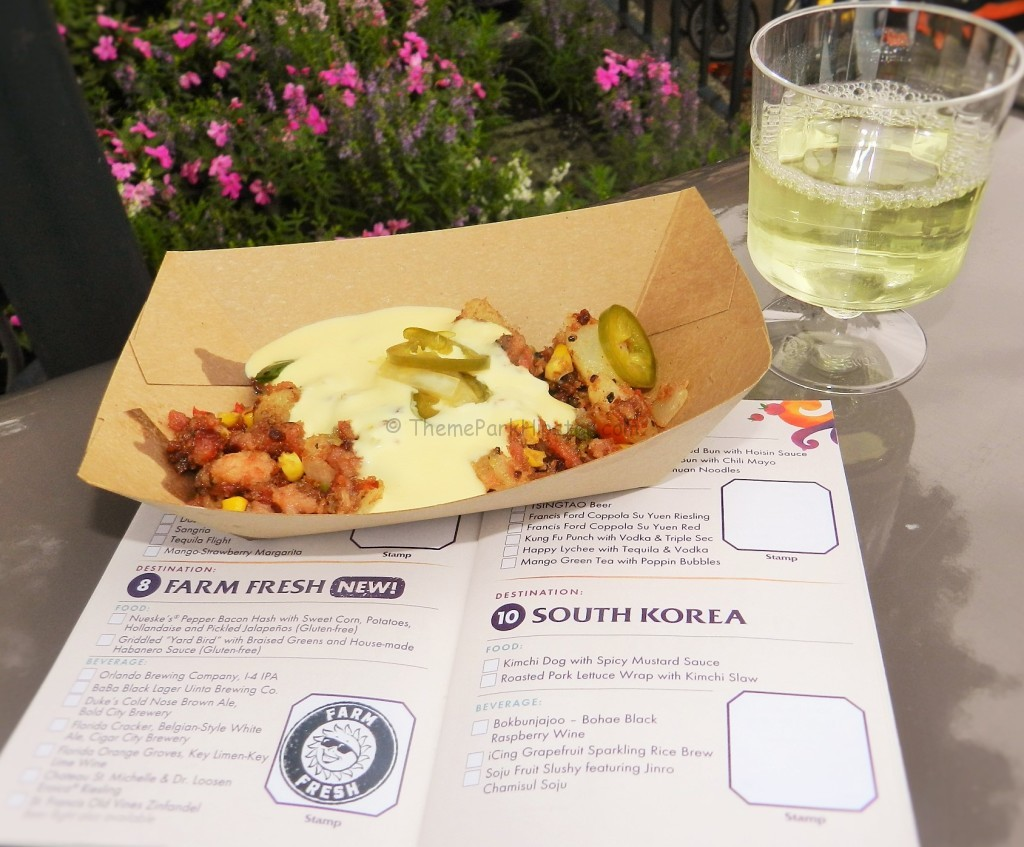 Epcot Food and Wine Festival. Potato hash with creamy cheese and jalapeno peppers on top.