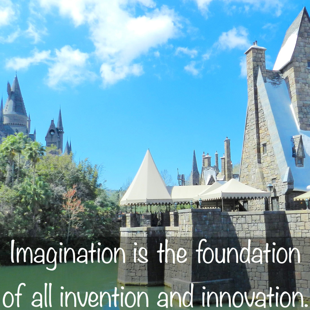 JK Rowling Quotes on Imagintion with Hogwarts Castle in the background.