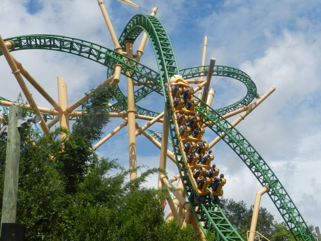 Busch Garden Cheetah Hunt. Green and Yellow Roller Coaster.