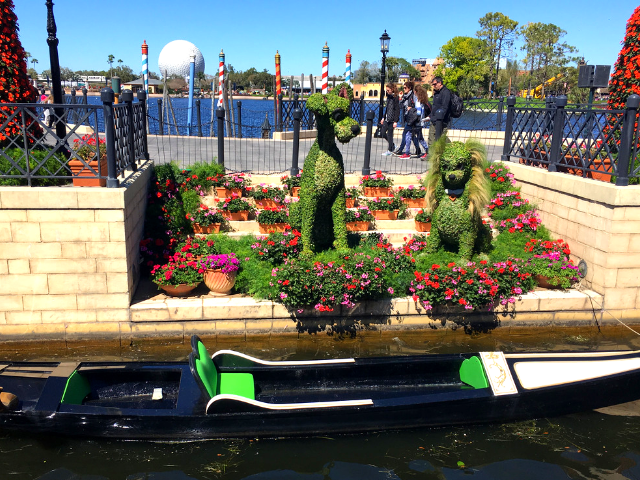 Epcot Flower and Garden Festival Map and Passport Lady and the Tramp Topiary Garden