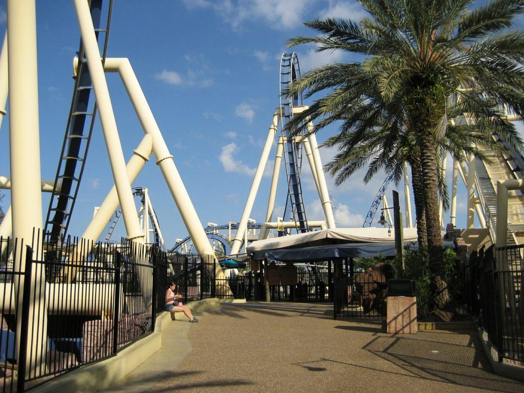 Busch Gardens Tampa Montu blue Egyptian roller coaster.