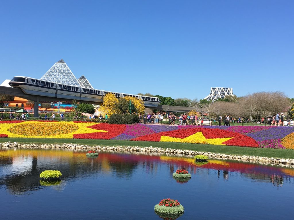 Colorful flowers and gardens at festival in Epcot