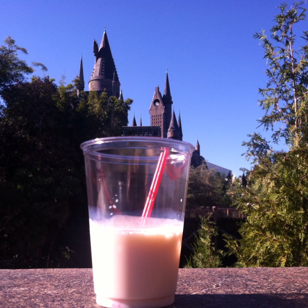 Cinnamon Toast Crunch Drink Shot in Hogshead with Hogwarts Castle in Background