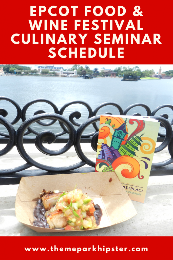 Epcot Food and Wine Festival Culinary Demonstrations Schedule with World Showcase Lagoon in the background...