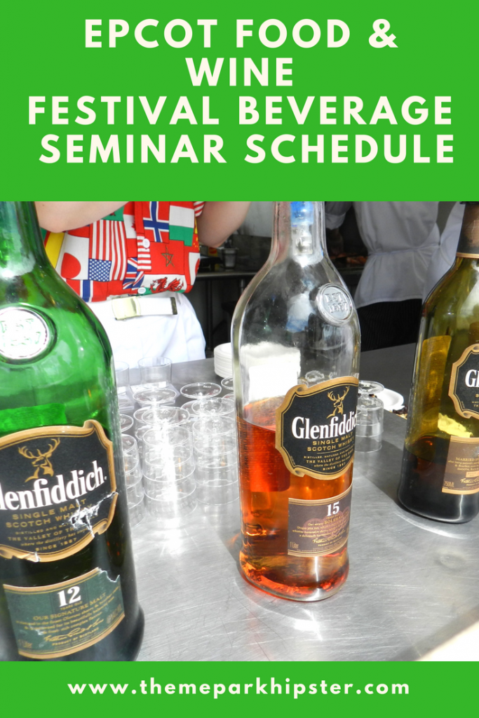 Epcot Food and Wine Festival Seminars with colorful Glenfiddich spirits.