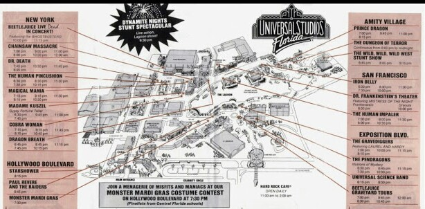 Halloween Horror Nights 1991 Map