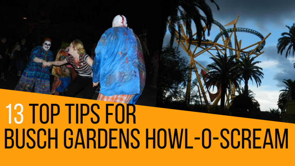 Busch Gardens Tampa Howl-O-Scream Tickets and Tips with woman screaming and clowns.