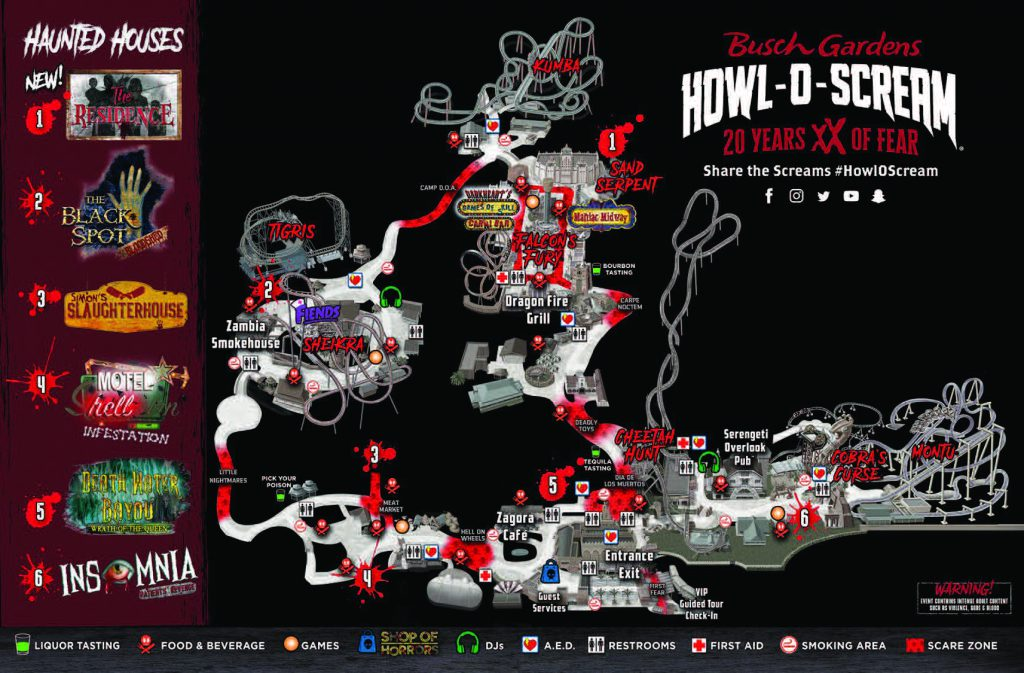 Busch Gardens Tampa Howl O Scream Map 2019
