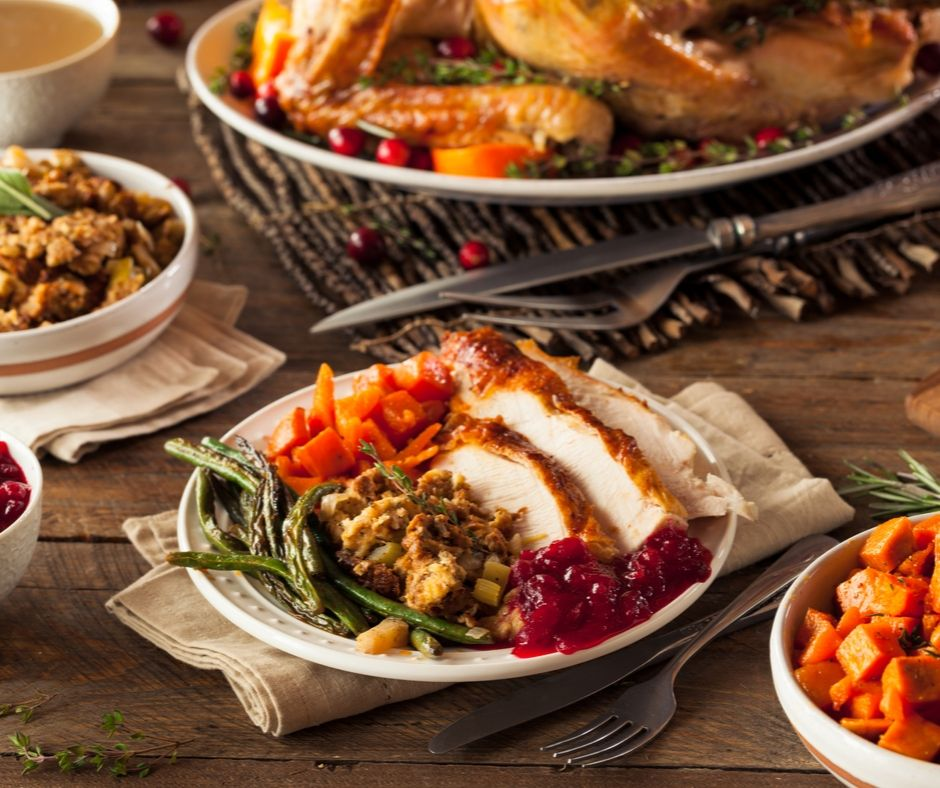 Busch Gardens Thanksgiving with delicious sliced turkey and fixings, plus soups, salads and dessert.