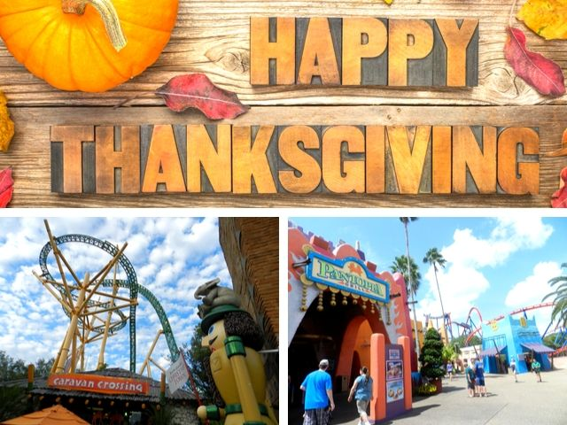 Thanksgiving at Busch Gardens with colorful roller coasters and orange pumpkin.
