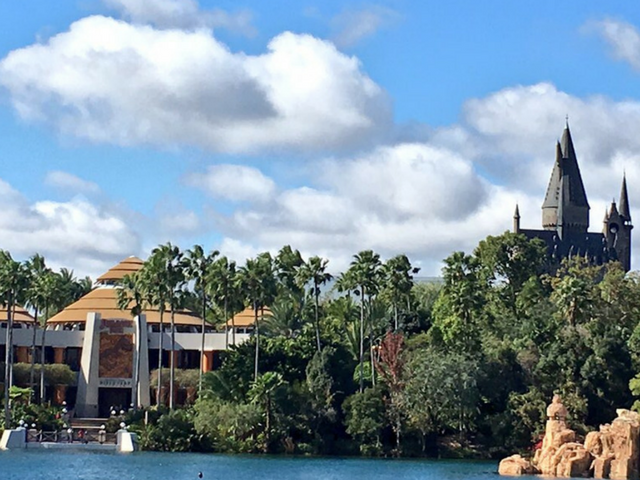 Islands of Adventure Tips with Jurassic Park and Hogwarts in the background.