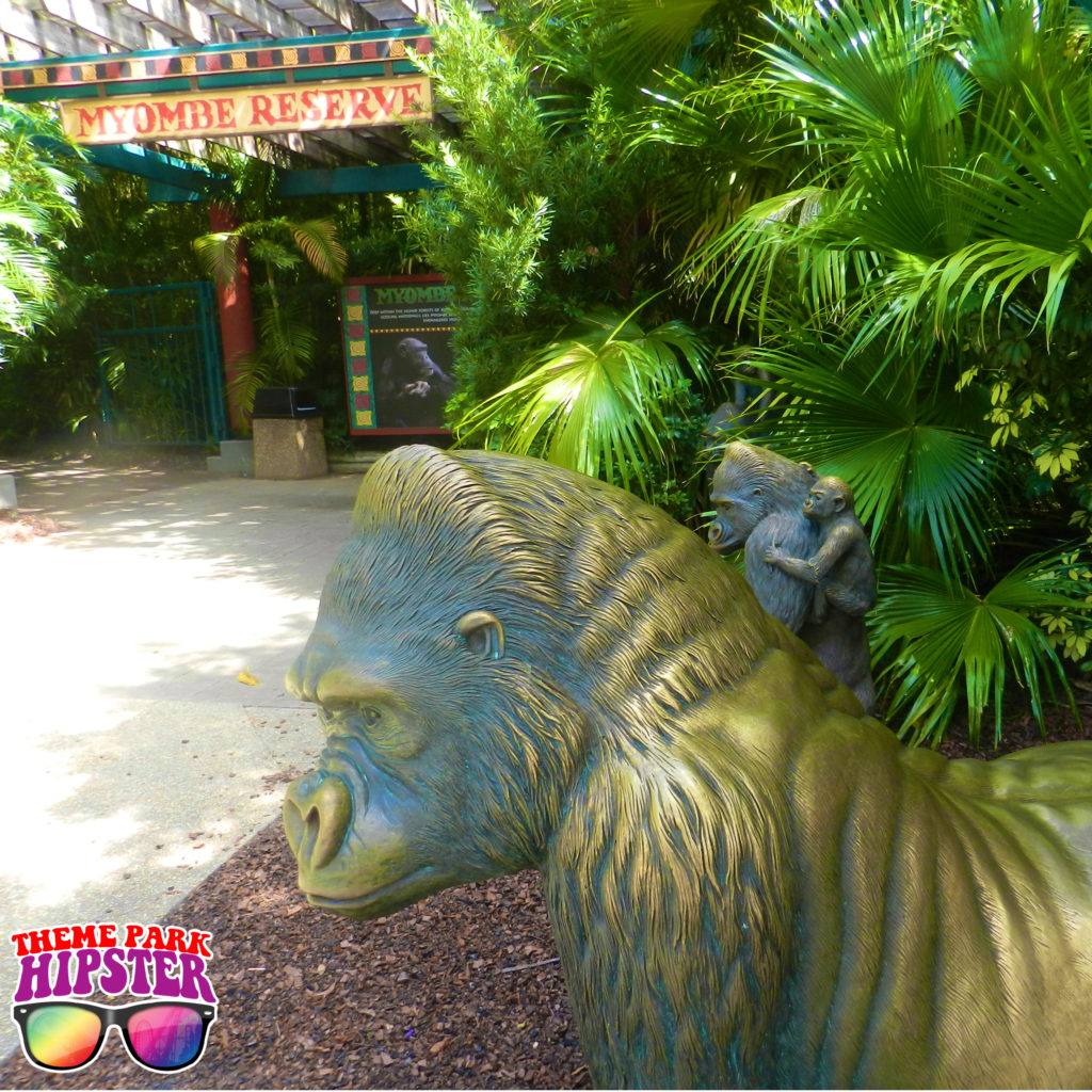 Myombe Reserve Busch Gardens Must Do's with statue gorilla.
