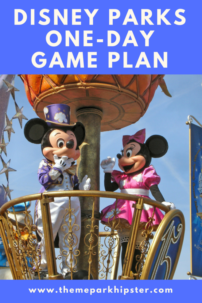 Walt Disney World One-Day Game Plan with Mickey and Minnie Mouse on top of a parade float at Walt Disney World