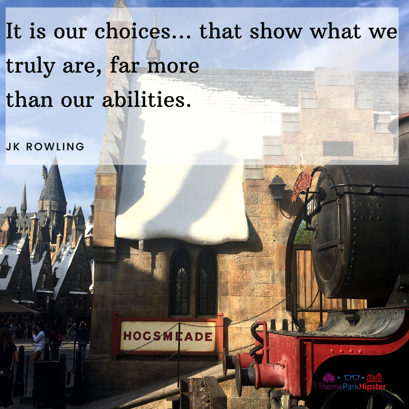 JK Rowling Quote It is our choices... that show what we truly are, far more than our abilities. With Hogwarts in the background.