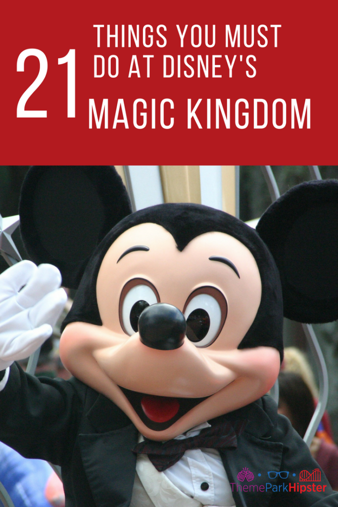 Best Magic Kingdom Rides and Attractions Guide with Mickey Mouse waving.