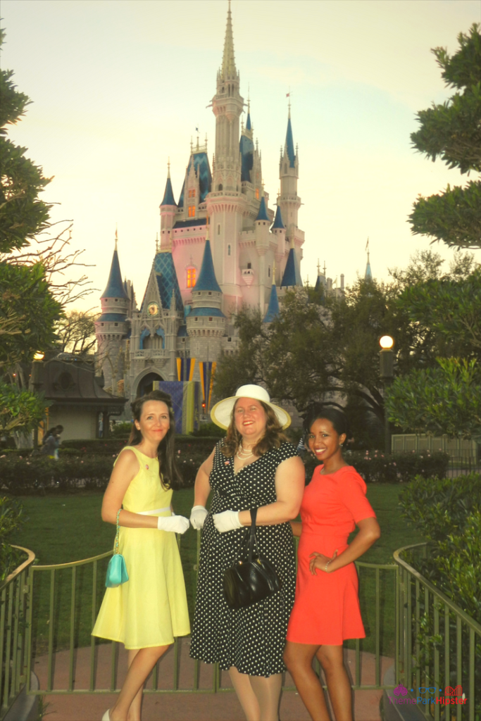 Best tips for the Magic Kingdom with Hipster friends in front of Cinderella Castle.