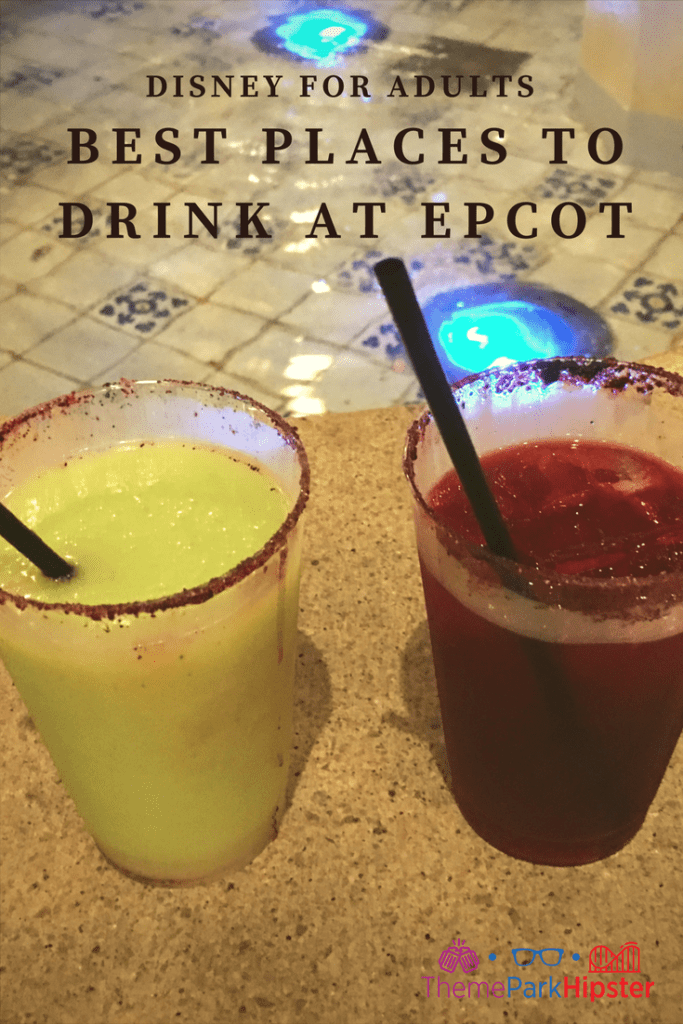 Green avocado margarita with salt around the rim. Where to find the best drinks at Epcot?