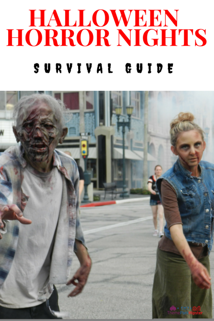 Halloween Horror Nights Survival Guide with walking dead zombie faces at Universal Studios Florida