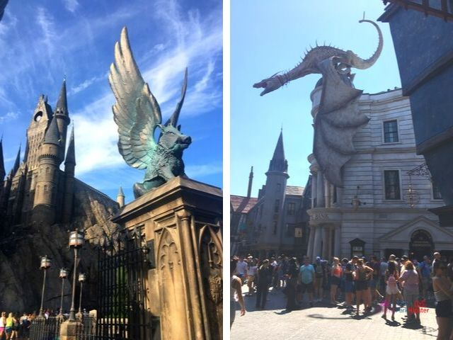 Hogsmeade vs Diagon Alley with fire breathing dragon and hogwarts castle