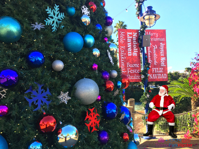 SeaWorld Christmas Santa Meet and Greet Dinner on Bright Florida Winter Day