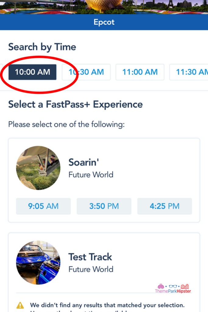 FastPass Selections at Epcot on myDisney Experience App.