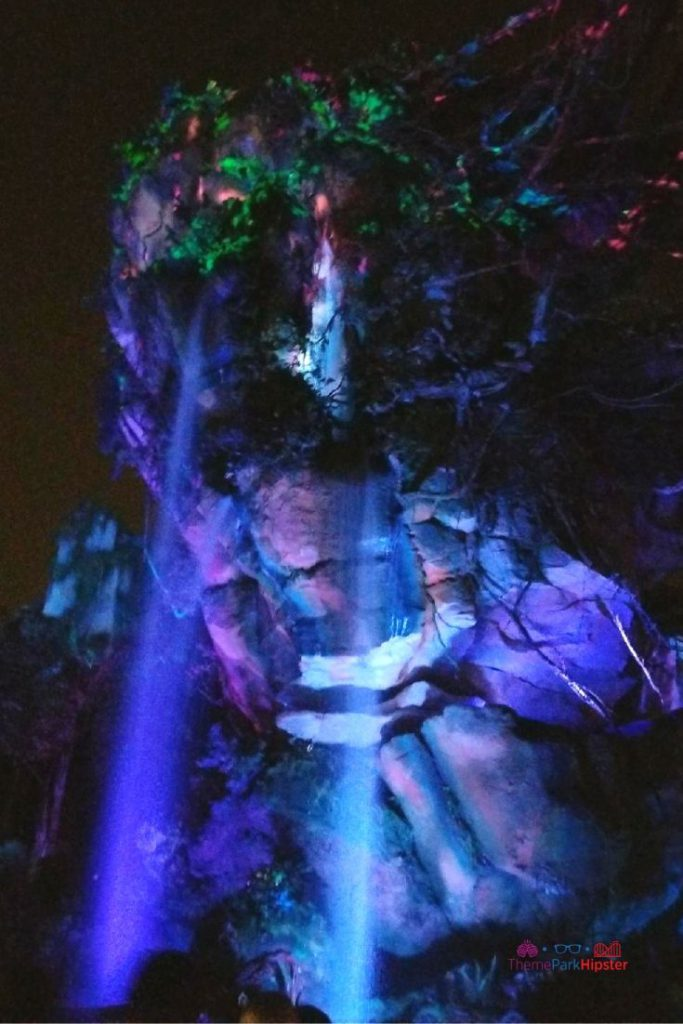 Pandora World of Avatar at Night Disney Animal Kingdom Waterfall
