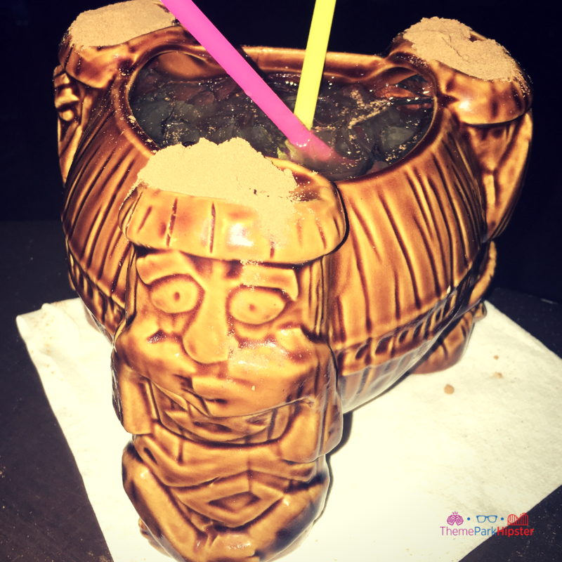 Trader Sam's Disney Tiki Room with volcano cocktail.