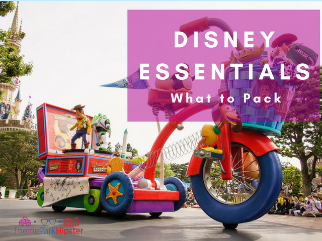 What to pack for disney with large Toy Story big wheel in Disney parade.