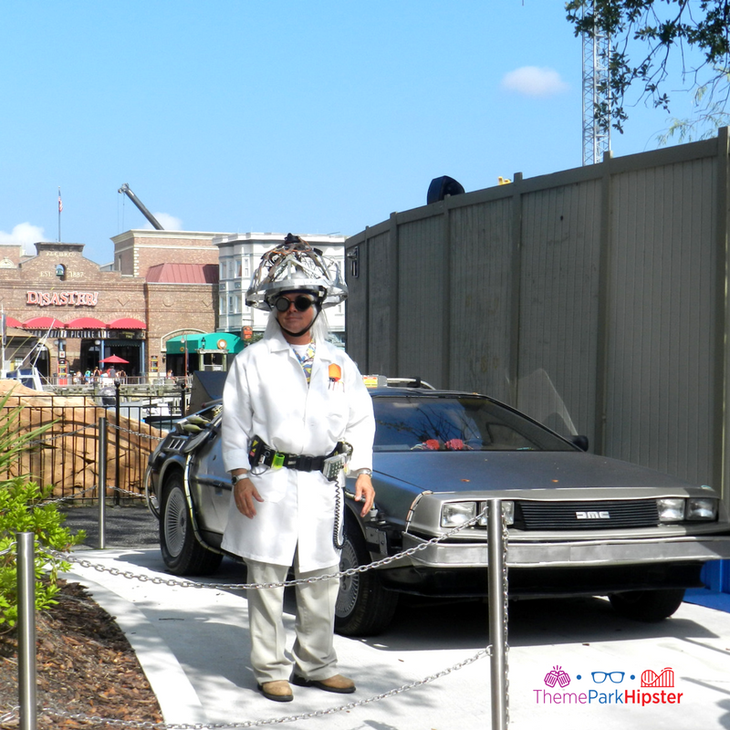 Delorean with Doc Back to the Future Universal Studios Florida