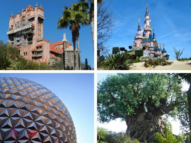 Where are disney parks with castle, ball, hollywood tower hotel, and tree of life at animal kingdom.