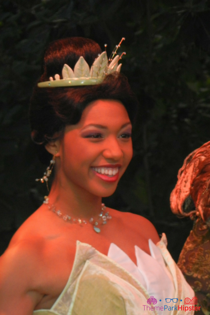 Princess Tiana in a beautiful gown at the Magic Kingdom