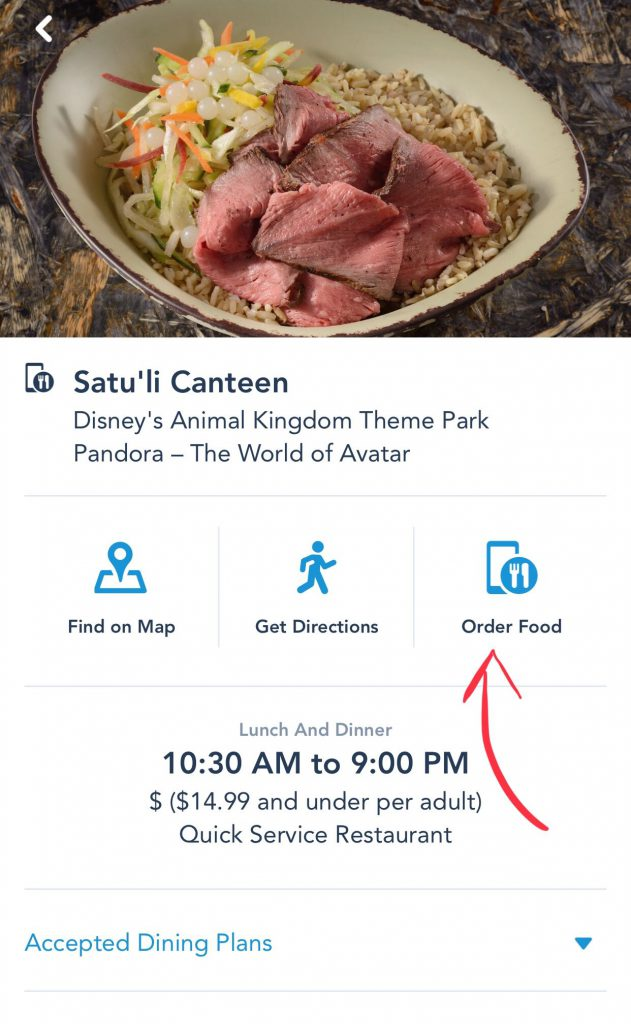 Disney World Mobile Ordering Step