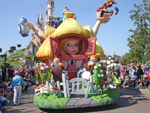 Disneyland Paris Where are Disney Parks Located Parade with Alice in Wonderland Float