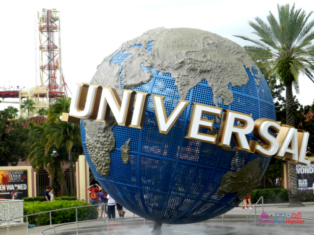 Universal Studios one day guide with great big blue earth globe.